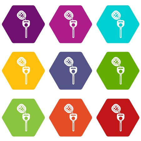 Car key with remote control icon set many color hexahedron isolated on white vector illustration Ilustração