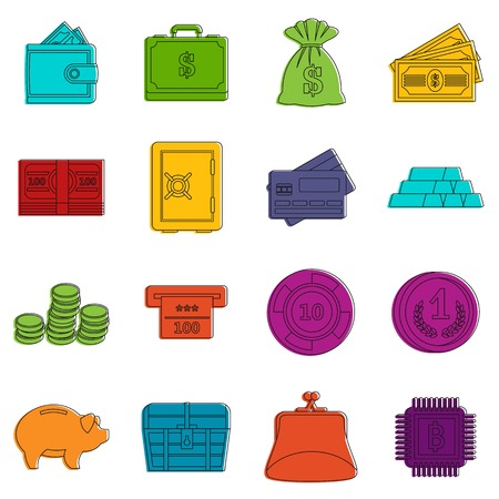 Different money icons set. Doodle illustration of vector icons isolated on white background for any web design