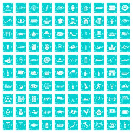 100 tourist attractions icons set in grunge style blue color isolated on white background vector illustration