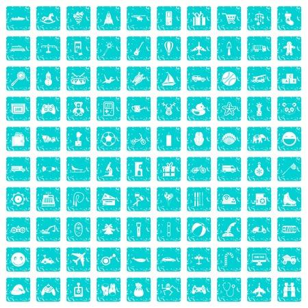 100 speelgoed voor jonge geitjespictogrammen die in de blauwe die kleur van de grungestijl worden geplaatst op witte vectorillustratie wordt geïsoleerd als achtergrond