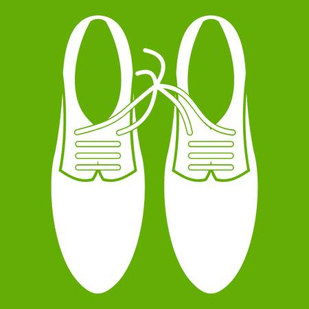 Tied laces on shoes joke icon white isolated on green background. Vector illustration