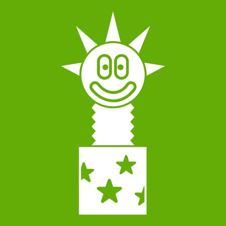 Toy jumping out of box icon white isolated on green background. Vector illustration