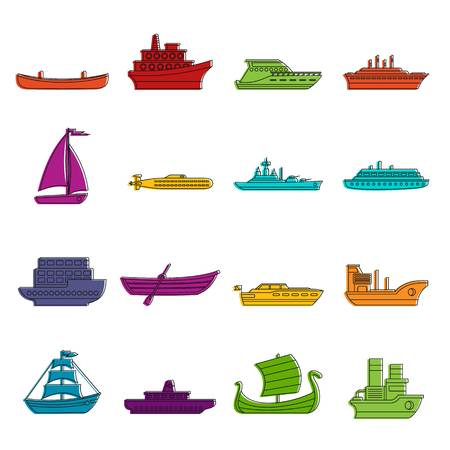 Sea transport icons set. Doodle illustration of vector icons isolated on white background for any web design Illustration