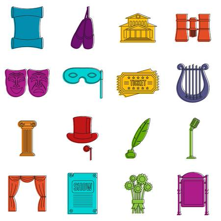Theater icons set. Doodle illustration of vector icons isolated on white background for any web design
