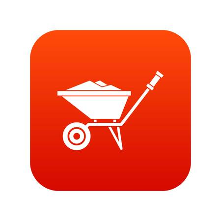 Wheelbarrow icon digital red for any design isolated on white vector illustration