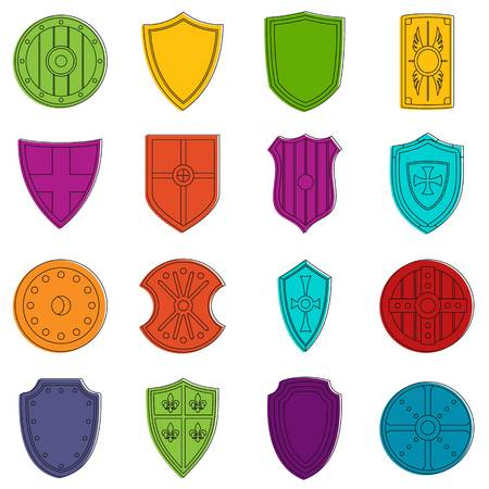 Shield frames icons set. Doodle illustration of vector icons isolated on white background for any web design Illustration