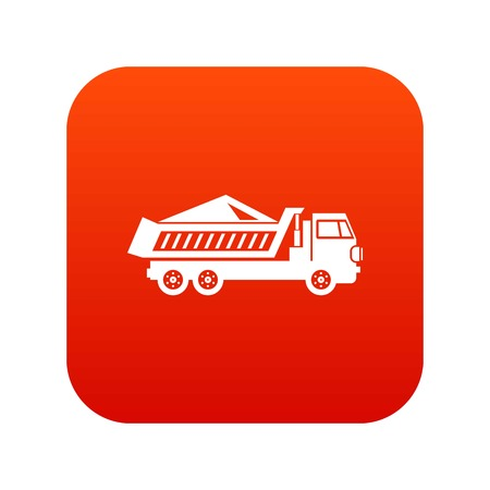Dump track icon digital red for any design isolated on white vector illustration Illustration