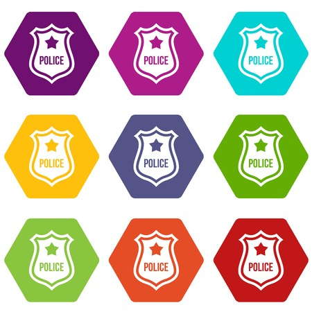Police badge icon set many color hexahedron isolated on white vector illustration