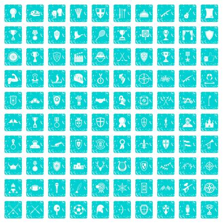 100 trophy and awards icons set in grunge style blue color isolated on white background vector illustration