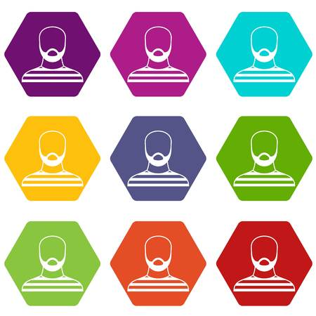 Bearded man in prison garb icon set many color hexahedron isolated on white vector illustration Ilustração