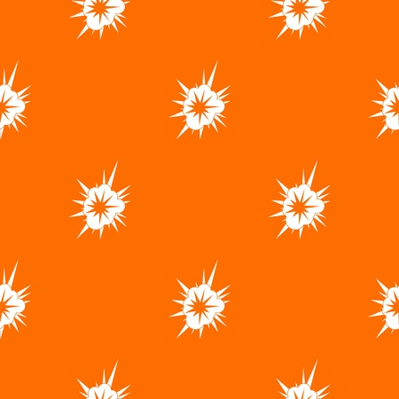 Nucleate explosion pattern repeat seamless in orange color for any design. Vector geometric illustration