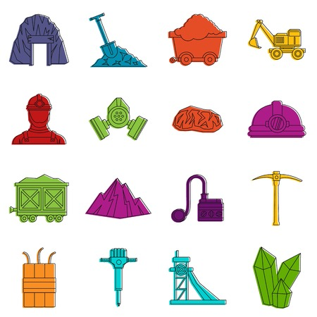 Miner icons set. Doodle illustration of vector icons isolated on white background for any web design