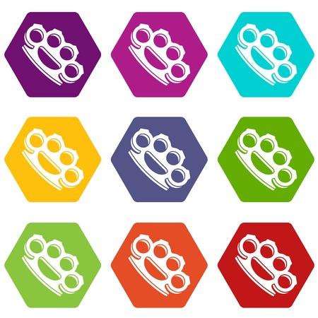 L'icona delle articolazioni d'ottone ha messo il hexahedron di colore di molti isolato sull'illustrazione bianca di vettore