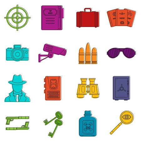 Spy tools icons set. Doodle illustration of vector icons isolated on white background for any web design Illustration