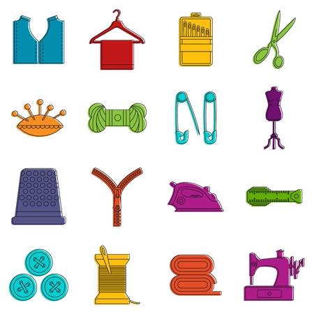 Sewing icons set. Doodle illustration of vector icons isolated on white background for any web design Illustration