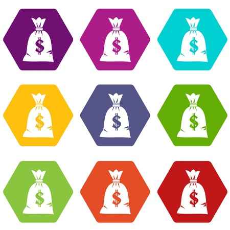 Money bag icon set many color hexahedron isolated on white vector illustration Illustration