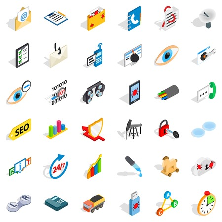 Computer icons set. Isometric style of 36 computer vector icons for web isolated on white background Illustration