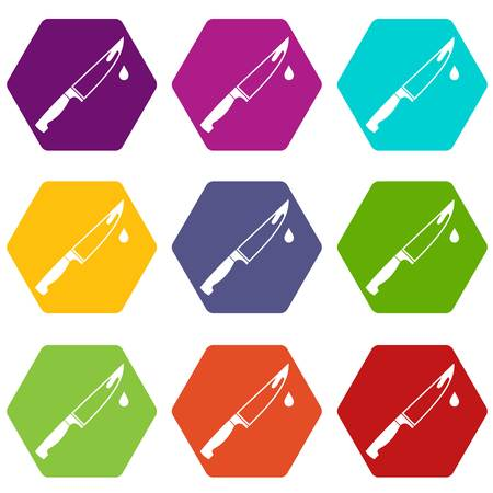 carnage: Steel knife icon set many color hexahedron isolated on white vector illustration