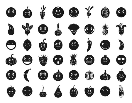 Emoji icon set. Simple set of emoji vector icons for web design isolated on white background