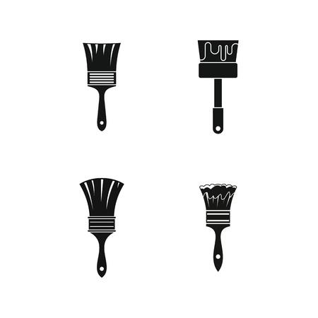 Brush icon set, simple style