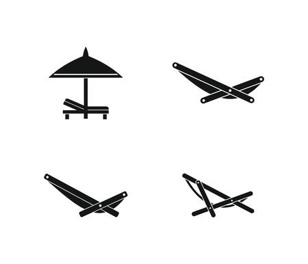 recliner: Deckchair icon set, simple style