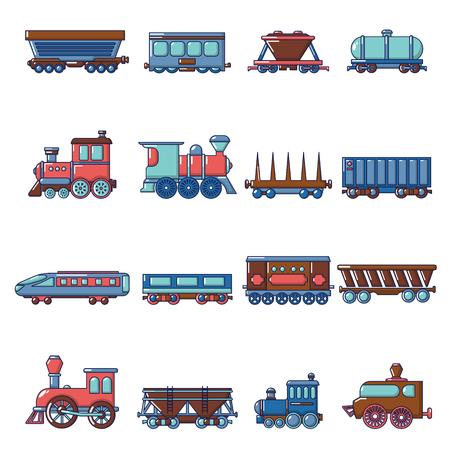 Geplaatste de pictogrammen van het spoorwegvervoer, beeldverhaalstijl Vector Illustratie