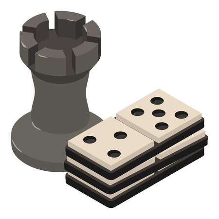 Chess icon, isometric 3d style