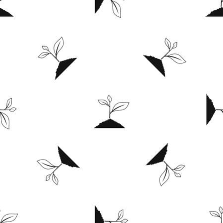 Growing plant pattern seamless black
