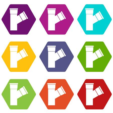 sewer: Plastic pipe connection icon set color hexahedron Illustration