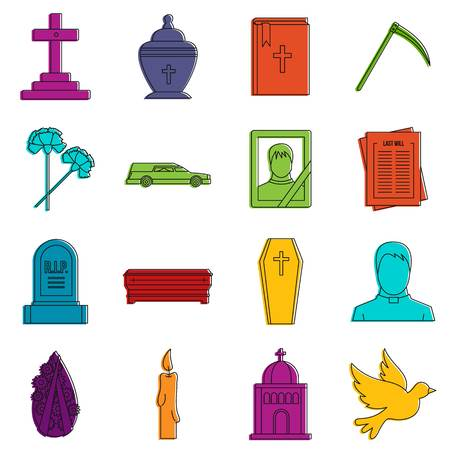 Funeral icons doodle set