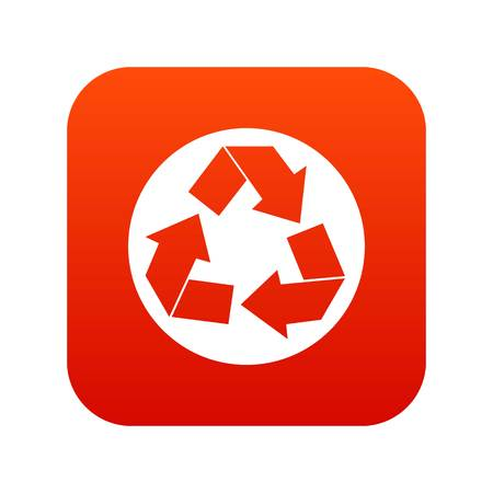 Recycle sign icon digital red