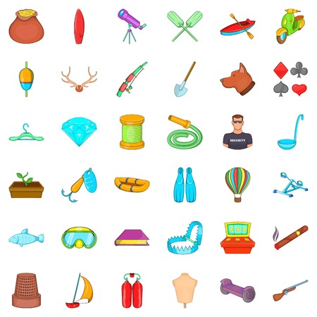 wood crate: Ship icons set, cartoon style