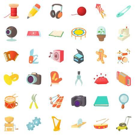 Mitten icons set, cartoon style