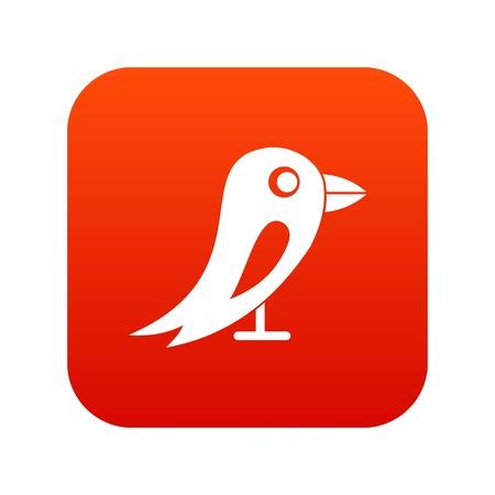 Social network bird icon digital red Illustration