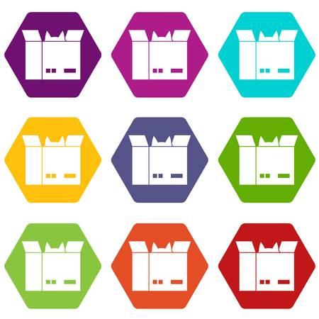 段ボール箱アイコンの色を設定する直方体の中の猫