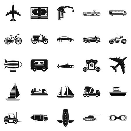Ride icons set, simple style Çizim