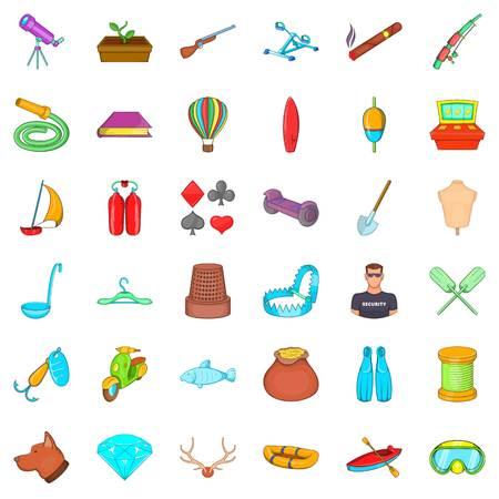 Floating icons set, cartoon style Illustration