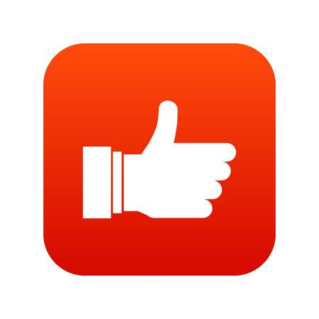 Thumb up sign icon digital red