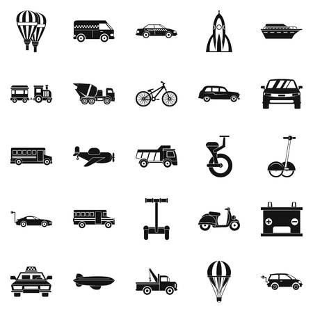 Two wheeler icons set, simple style