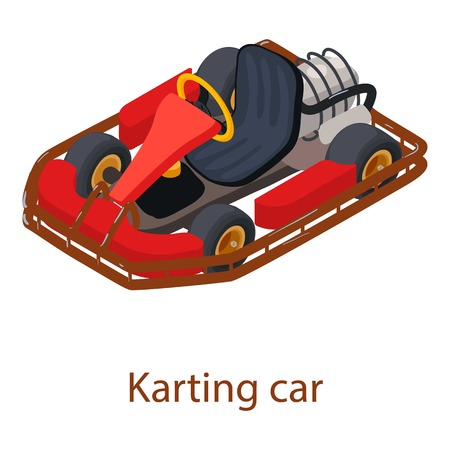 Karting car icon, isometric 3d style