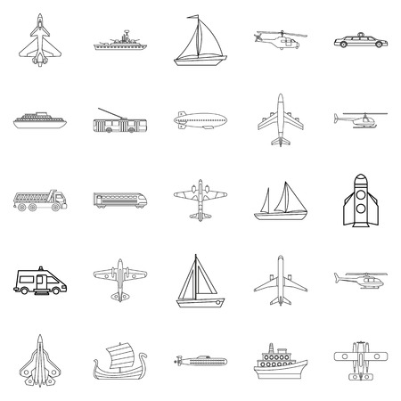 Civil transport icons set, outline style Çizim