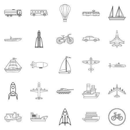 Air transport icons set, outline style