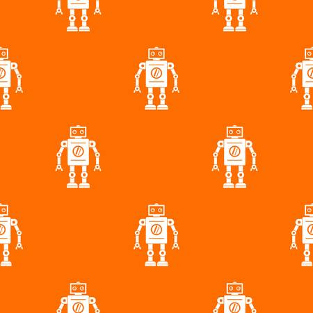 Retro robot pattern repeat seamless in orange color for any design. Vector geometric illustration