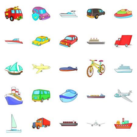 City transport icons set. Cartoon set of 25 city transport vector icons for web isolated on white background Çizim