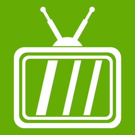 Retro TV icon white isolated on green background. Vector illustration