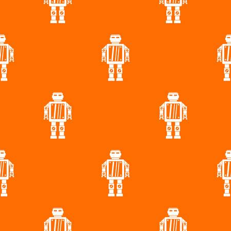 Abstract robot pattern repeat seamless in orange color for any design. Vector geometric illustration Illustration