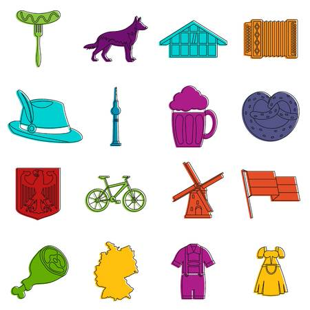 Germany icons set. Doodle illustration of vector icons isolated on white background for any web design