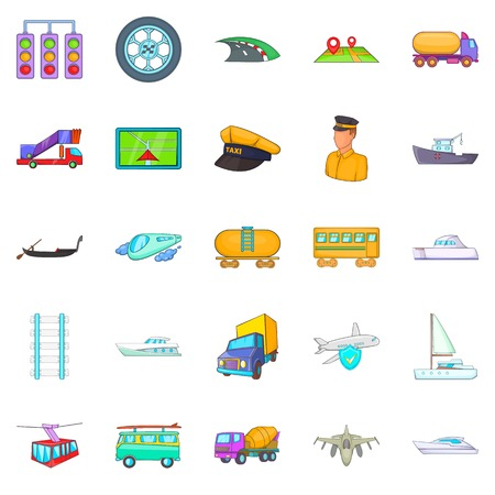 Traction icons set. Cartoon set of 25 traction vector icons for web isolated on white background Çizim
