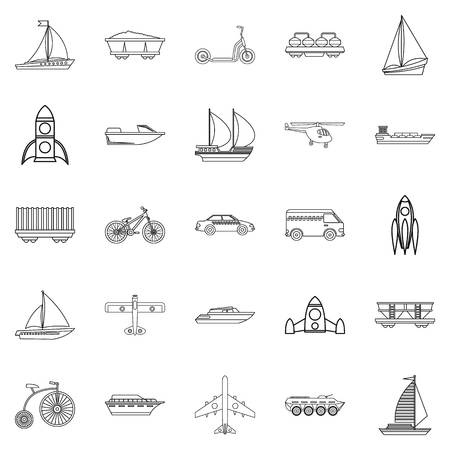 Deprecated transport icons set. Outline set of 25 deprecated transport vector icons for web isolated on white background