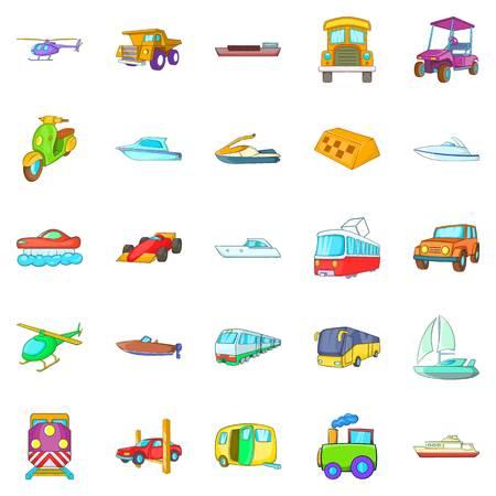Transportation of people icons set. Cartoon set of 25 transportation of people vector icons for web isolated on white background